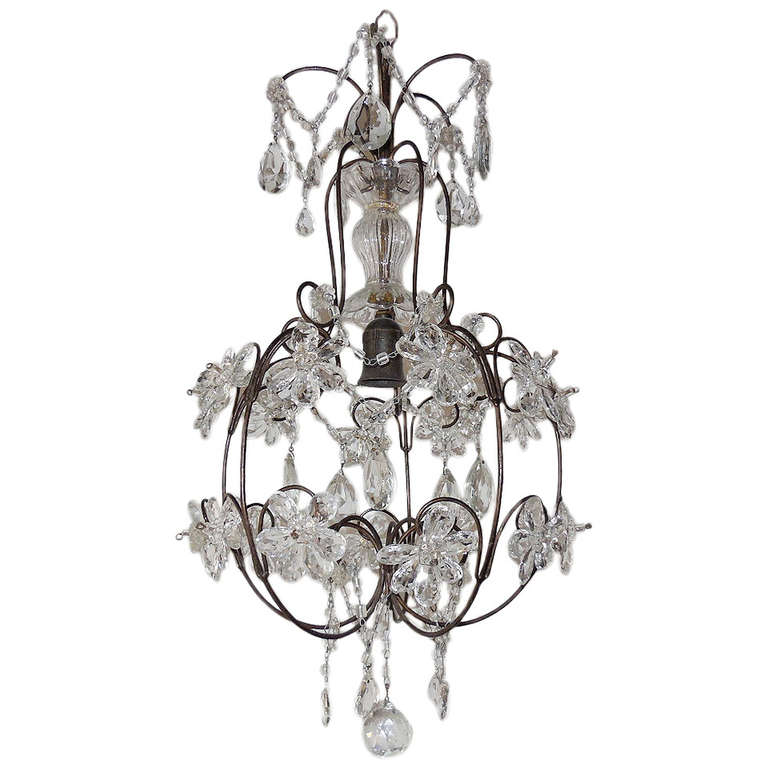 French Clear Crystal Prisms Bagues Style Flowers Chandelier Vintage For