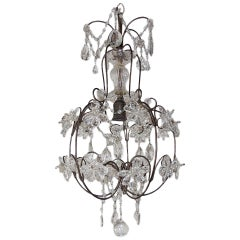 French Clear Crystal Prisms Bagues Style Flowers Chandelier Vintage