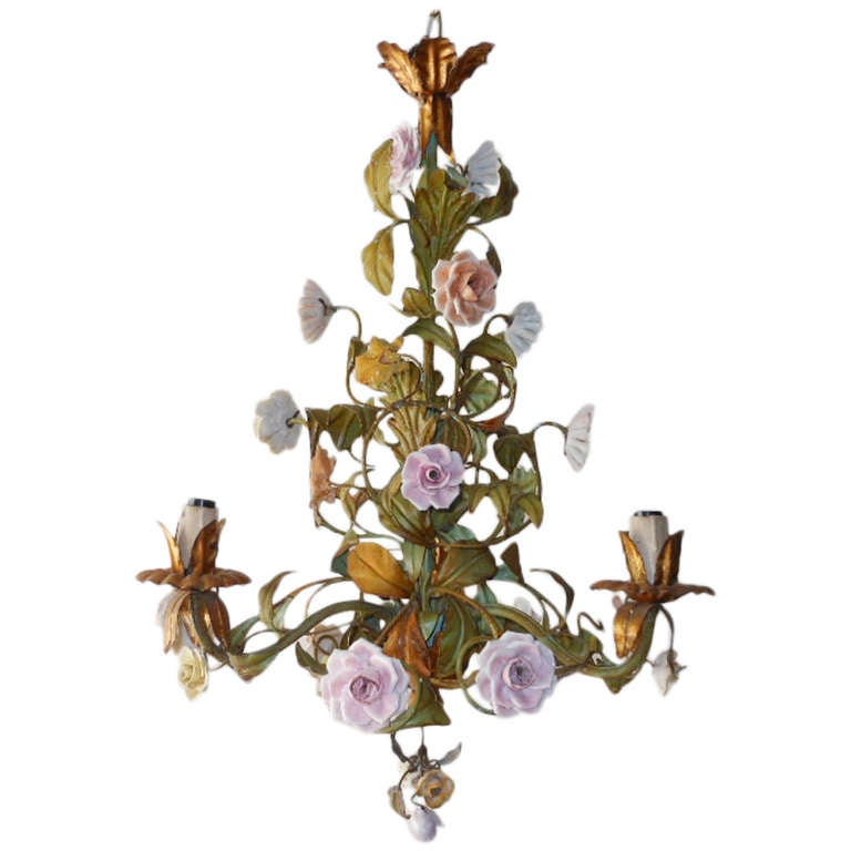 Tole Italy  city pictures gallery : Italian Tole Porcelain Roses and Flowers Chandelier at 1stdibs