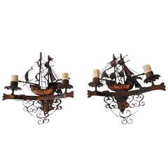 French Pair Wrought iron Nautical Ship Sconces