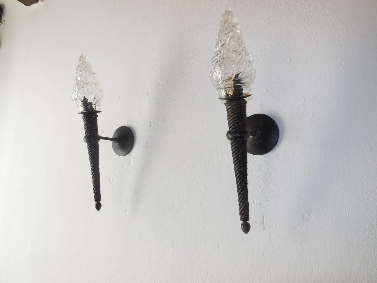 Iron Torch Wall Lights : French Pair of Wrought Iron Torch Glass-Flame Medieval Sconces at 1stdibs