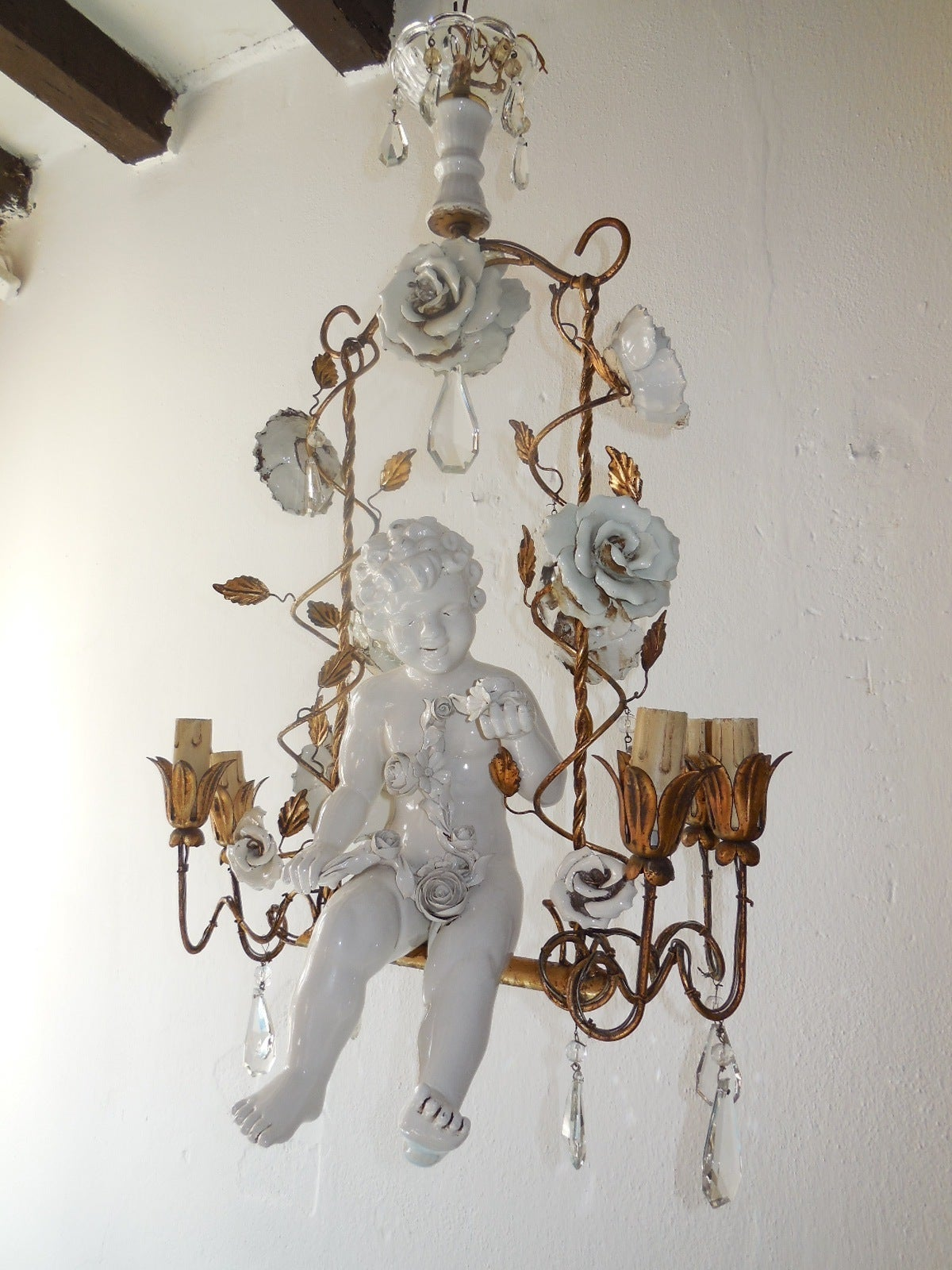 French Porcelain Roses and Tole with Huge Cherub Swinging – Cherub Chandelier