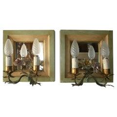 Venetian Mirror and Tole Porcelain Rose Sconces, 1900