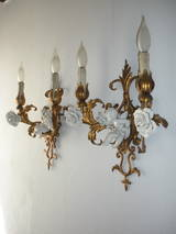 French Porcelain Winged Cherub Gilt Tole Sconces, 1940 at 1stdibs