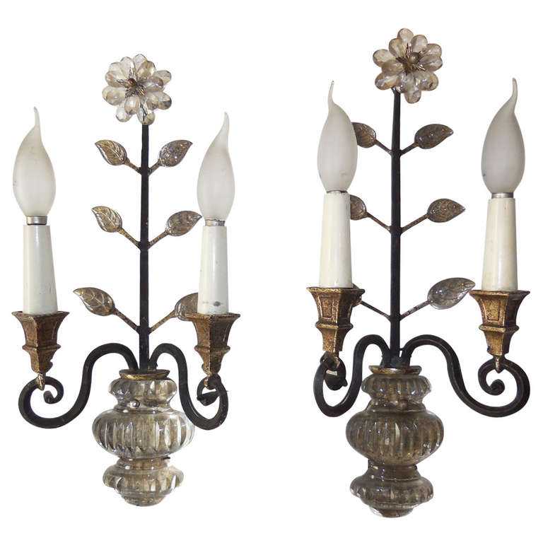 Italian Crystal Wall Sconces : Italian Silver Gilt Crystal Flowers and Urn Sconces at 1stdibs