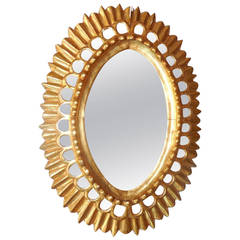 French Gold Gilt Wood Starburst Sunburst Mirror