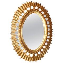 French Gold Gilt Wood Starburst Sunburst Mirror