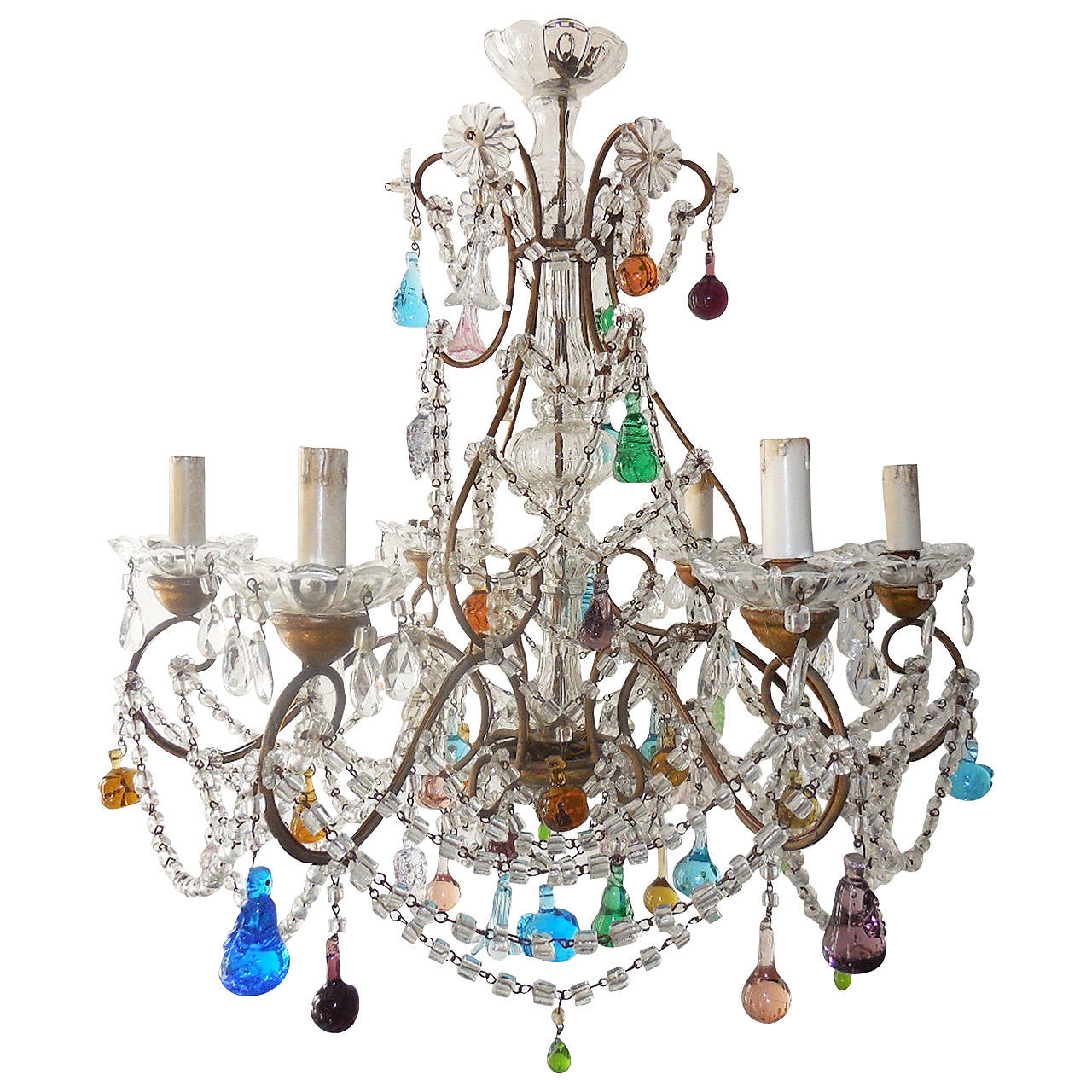 1900 Italian Murano Colored Fruit Crystal Swags Chandelier at 1stdibs – Fruit Chandelier
