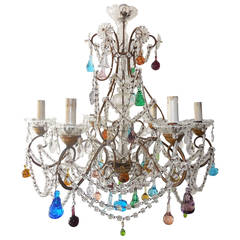 1900 Italian Murano Colored Fruit Crystal Swags Chandelier