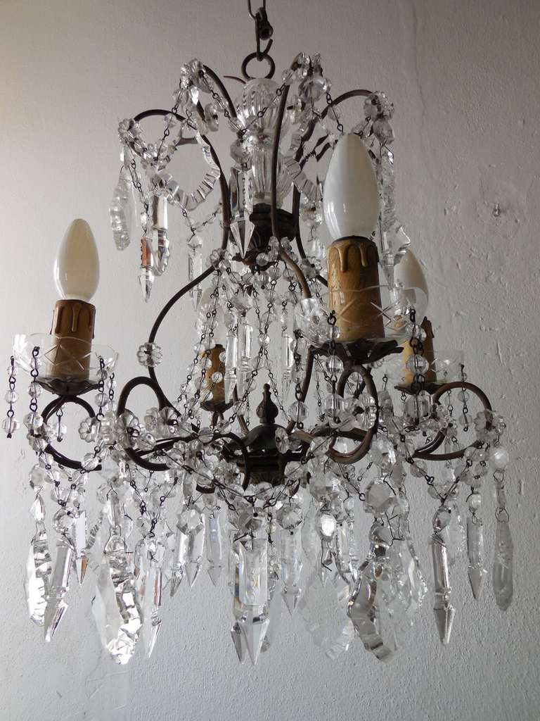 Italian Florentine Crystal Prisms Chandelier For Sale 4