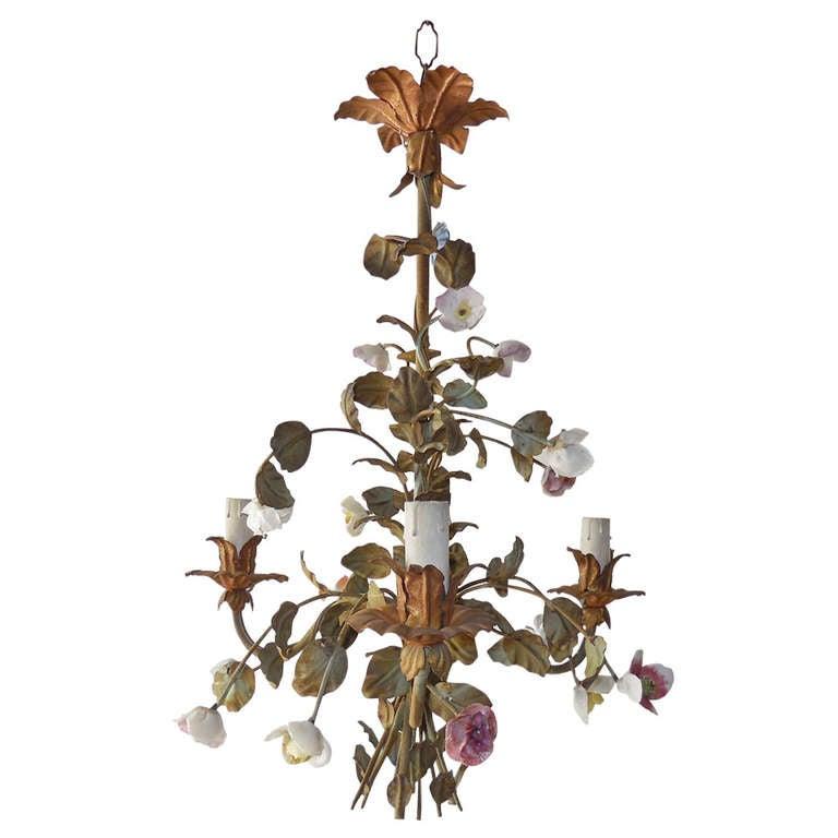 Italian 1870 Tole Polychrome Porcelain Flowers Chandelier