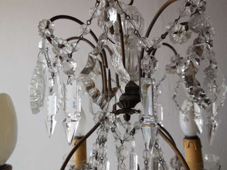 Baroque Italian Florentine Crystal Prisms Chandelier For Sale