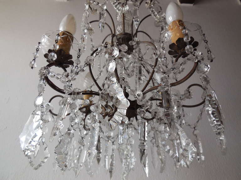 20th Century Italian Florentine Crystal Prisms Chandelier For Sale