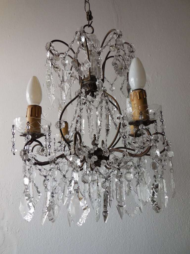 Murano Glass Italian Florentine Crystal Prisms Chandelier For Sale