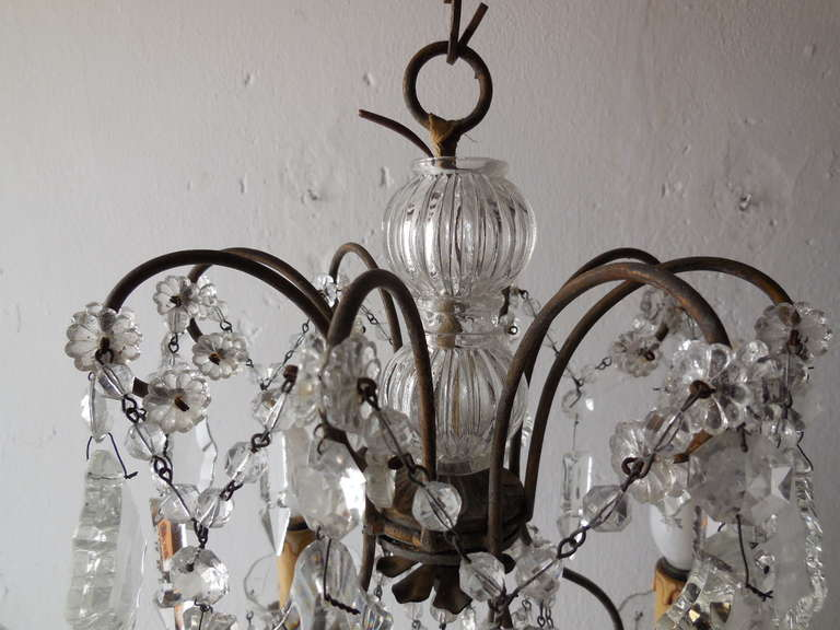 Italian Florentine Crystal Prisms Chandelier For Sale 1