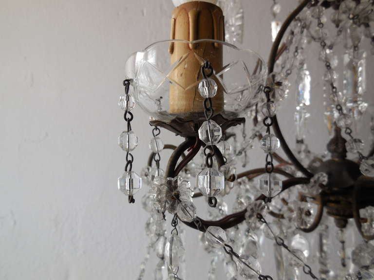 Italian Florentine Crystal Prisms Chandelier For Sale 2