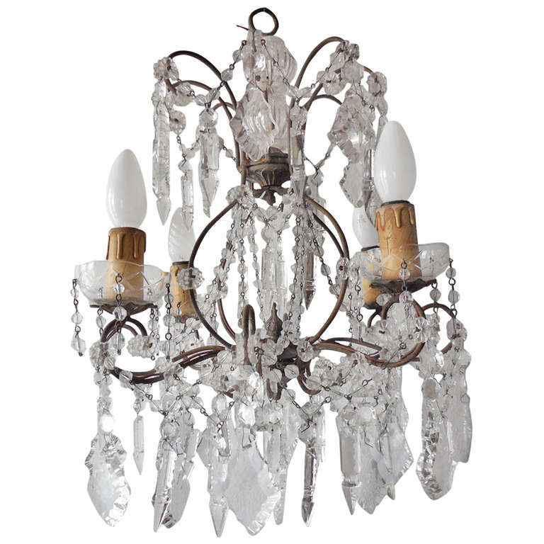 Italian Florentine Crystal Prisms Chandelier For Sale