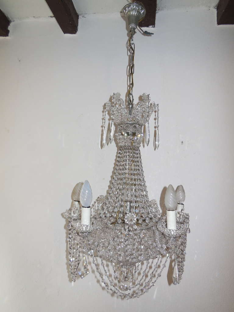 Housing 7 Lights Two Are Inside Bulb Holders Even Beaded On The Italian Crystal Basket Silver Chandelier