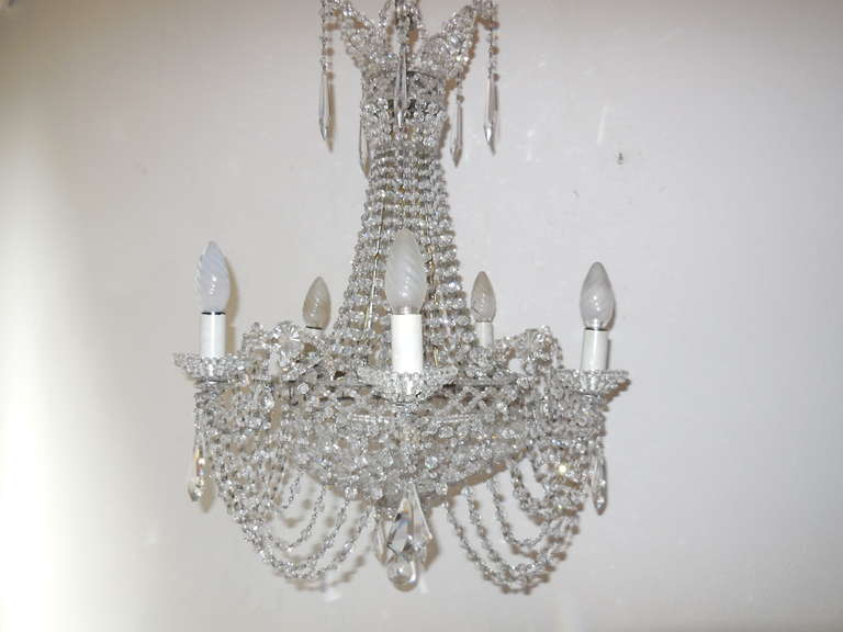 Italian Beaded Crystal Basket Silver Chandelier In Excellent Condition For It