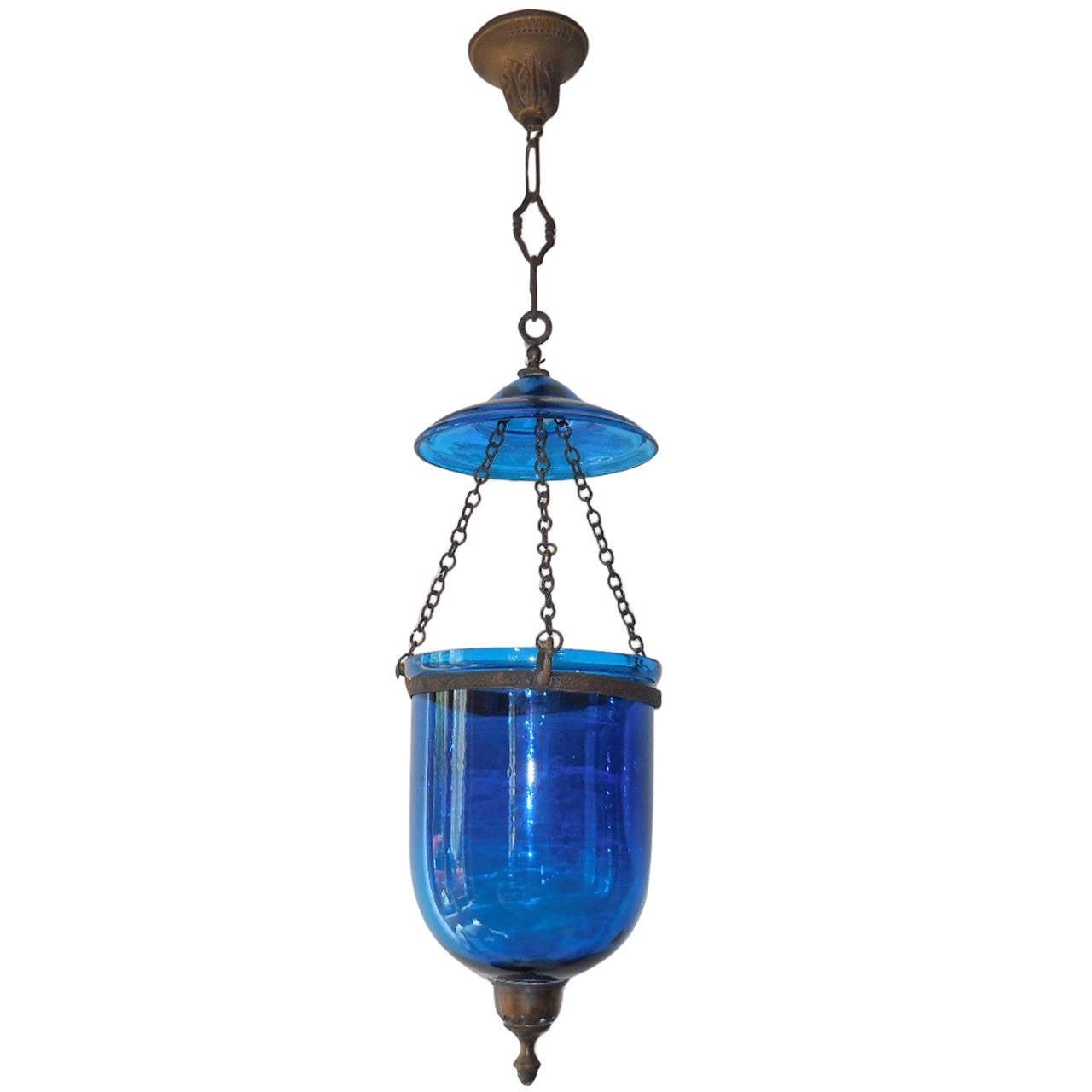 Cobalt blue chandelier musethecollective 19th century english cobalt blue bell jar lantern chandelier at aloadofball Image collections