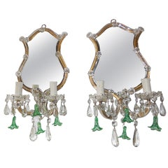 Green Bell Flower Crystal Mirror Sconces