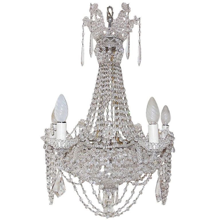 Italian beaded crystal basket silver chandelier for sale at 1stdibs italian beaded crystal basket silver chandelier for sale mozeypictures Image collections
