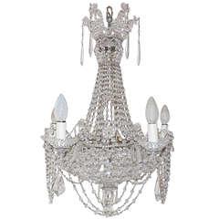 Italian Beaded Crystal Basket Silver Chandelier