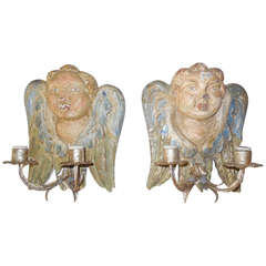 Italian Hand Carved & Painted Cherub Wood Sconces