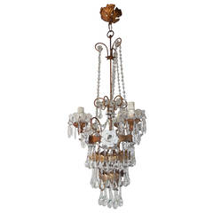 Italian Tiered Tole White Roses Murano Drops Chandelier