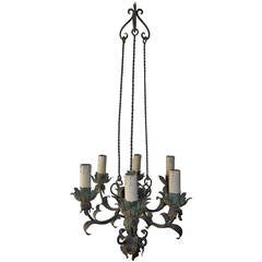 1910 French Green Wrought Iron Seven-Light Chandelier