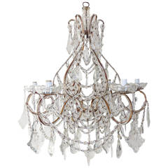 1920 French Huge Beaded Crystal Prisms Chandelier