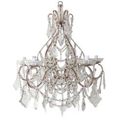 1920 French Huge Beaded Crystal Prisms Chandelier