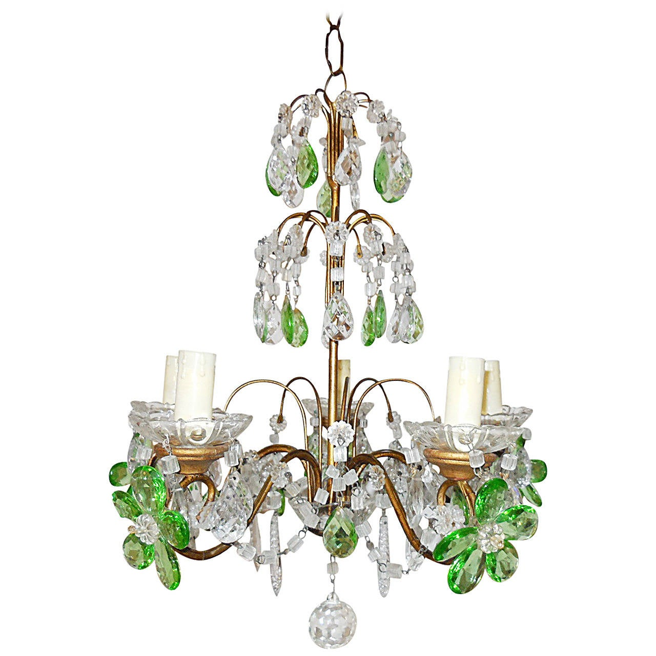 French green and clear crystal prisms flowers chandelier circa 1920 french green and clear crystal prisms flowers chandelier circa 1920 for sale mozeypictures Choice Image