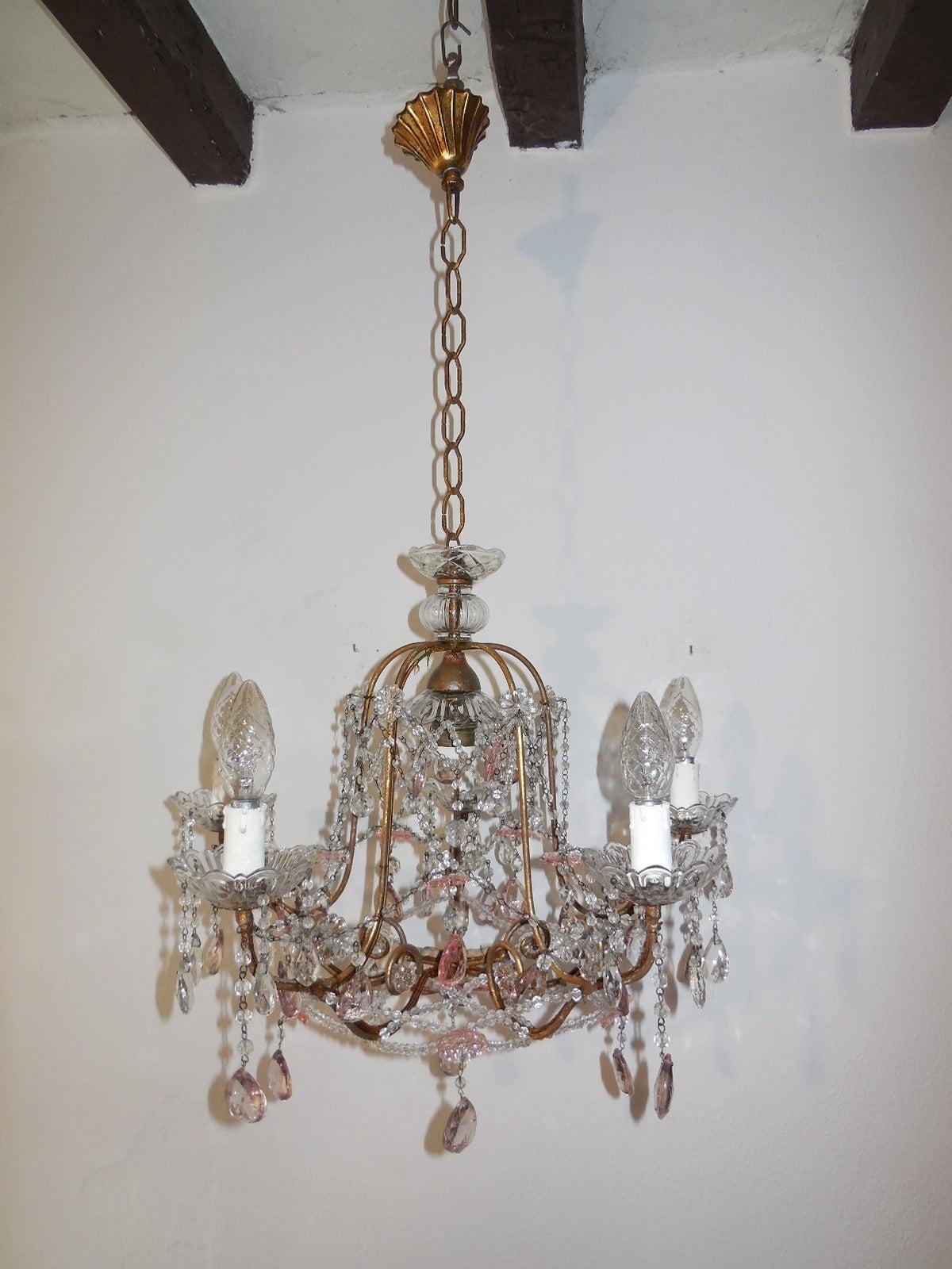 1920 French Feminine Pink Crystal Prisms Chandelier For