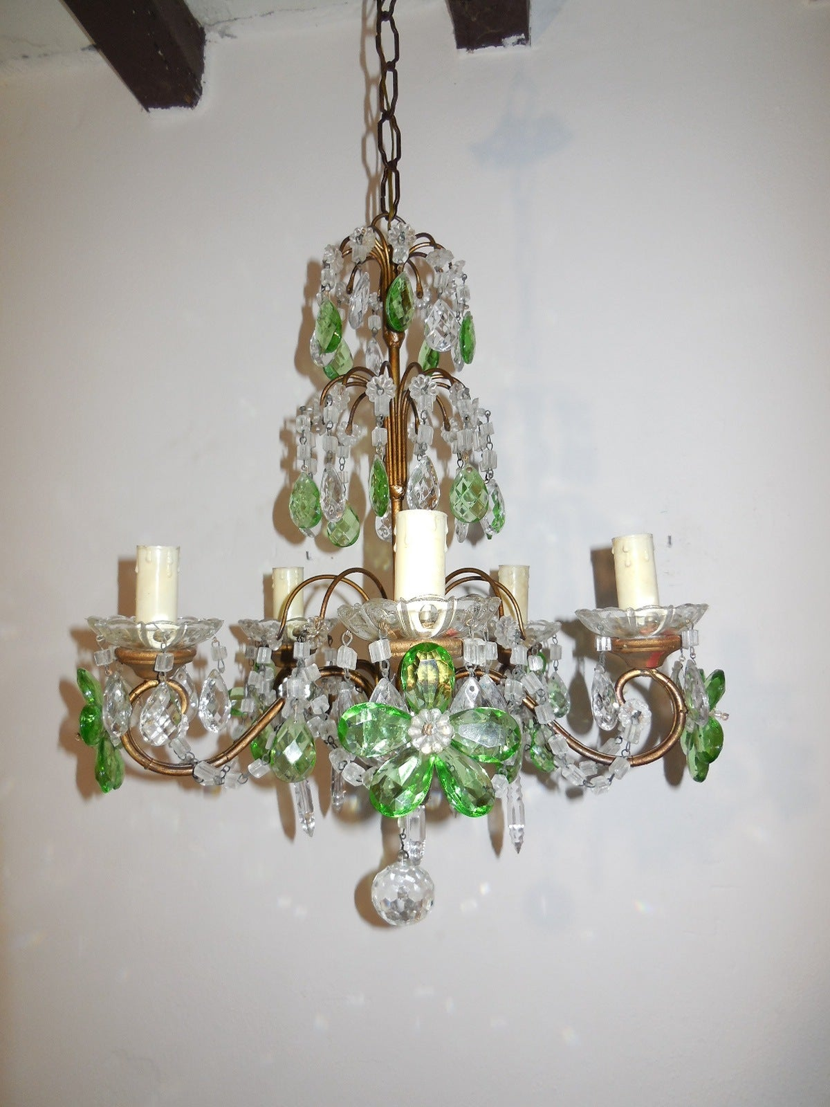 French Green and Clear Crystal Prisms Flowers Chandelier ...