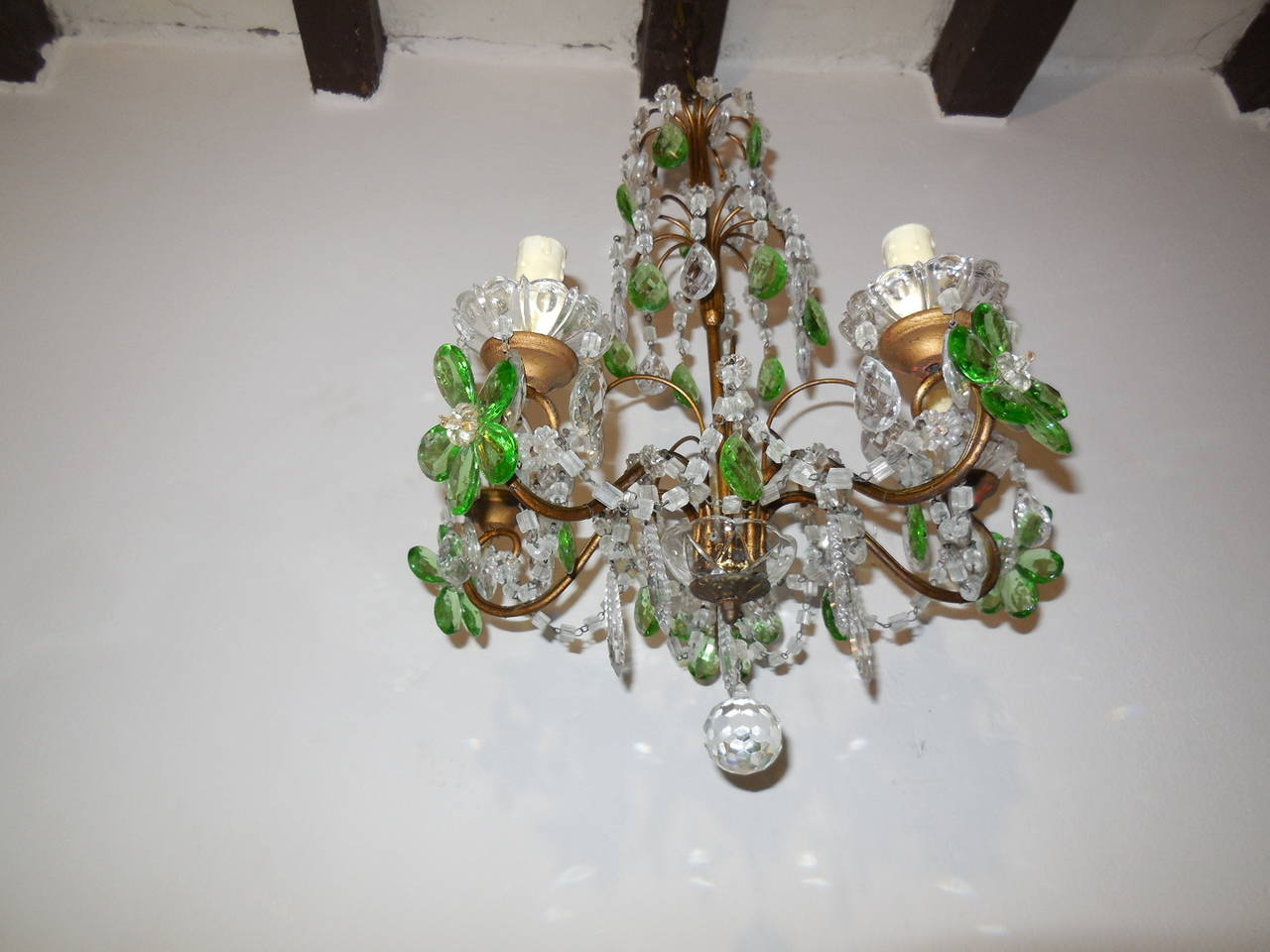 French green and clear crystal prisms flowers chandelier circa 1920 french green and clear crystal prisms flowers chandelier circa 1920 in excellent condition for sale arubaitofo Choice Image