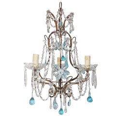 French Aqua Crystal Prisms, Drops and Flowers Chandelier, circa 1920