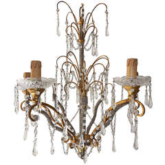 Italian Micro Beaded, Gold Gilt, Crystal Prisms Chandelier