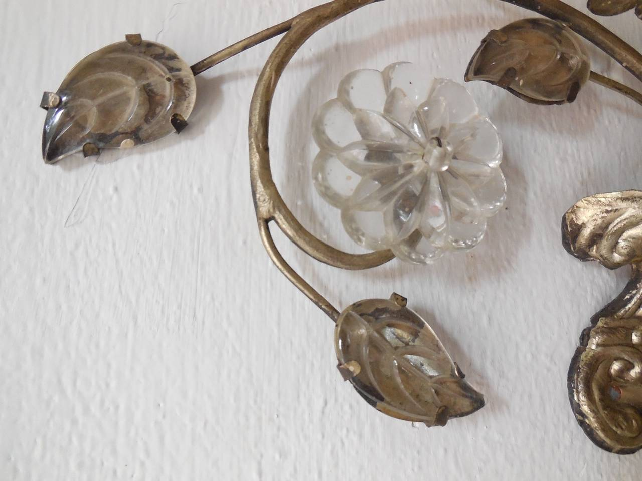French Maison Bagues Style Silver Floral Beaded Sconces 5