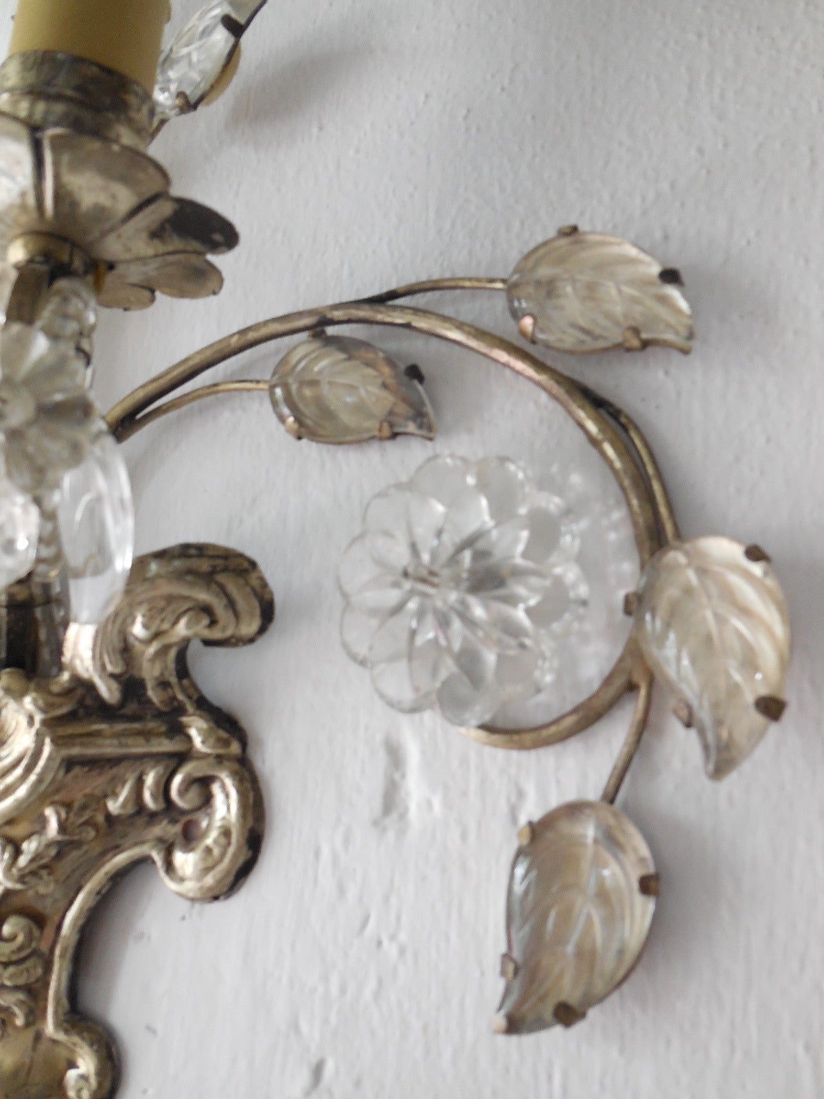 French Maison Bagues Style Silver Floral Beaded Sconces 6