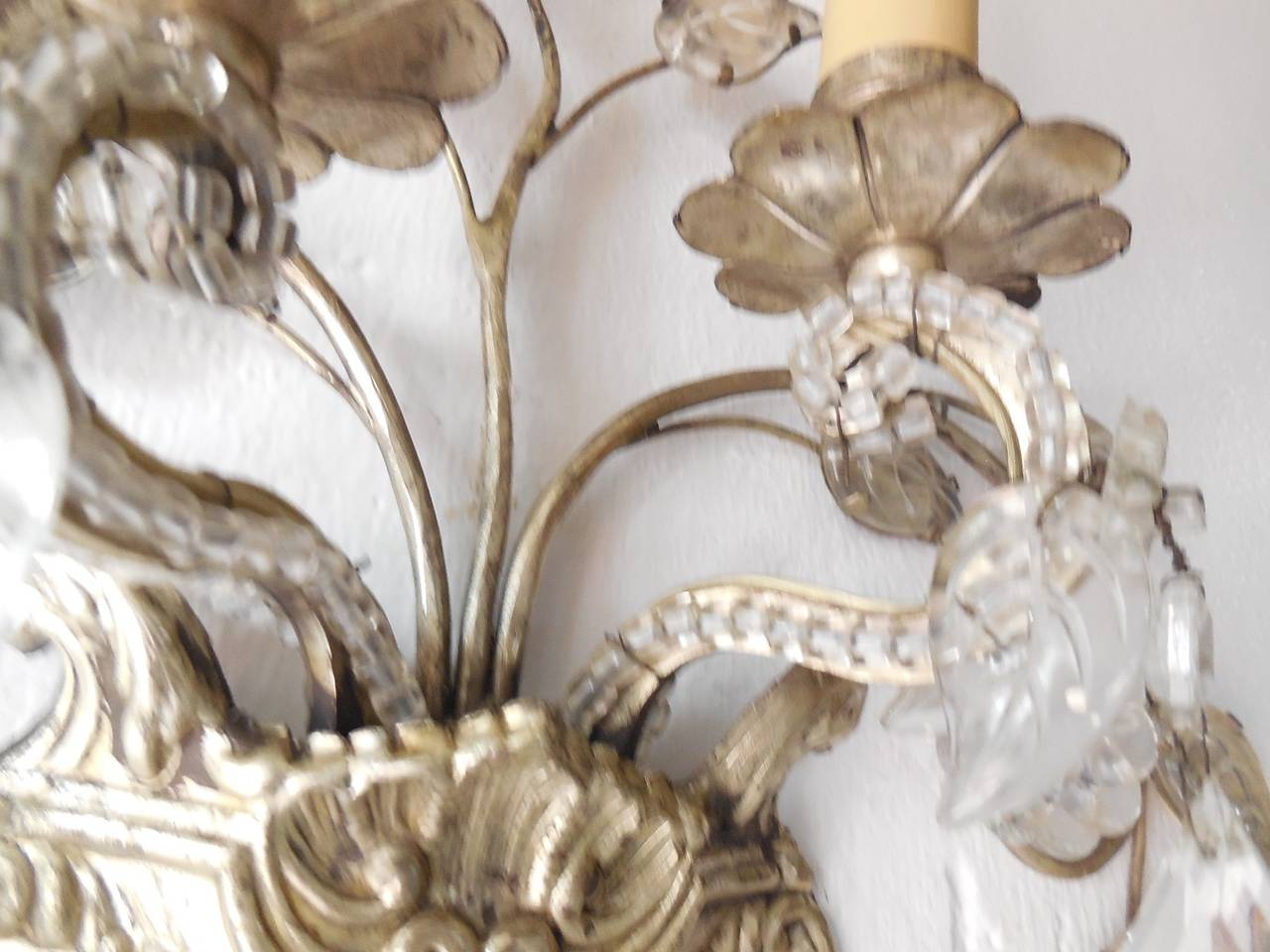 French Maison Bagues Style Silver Floral Beaded Sconces 7