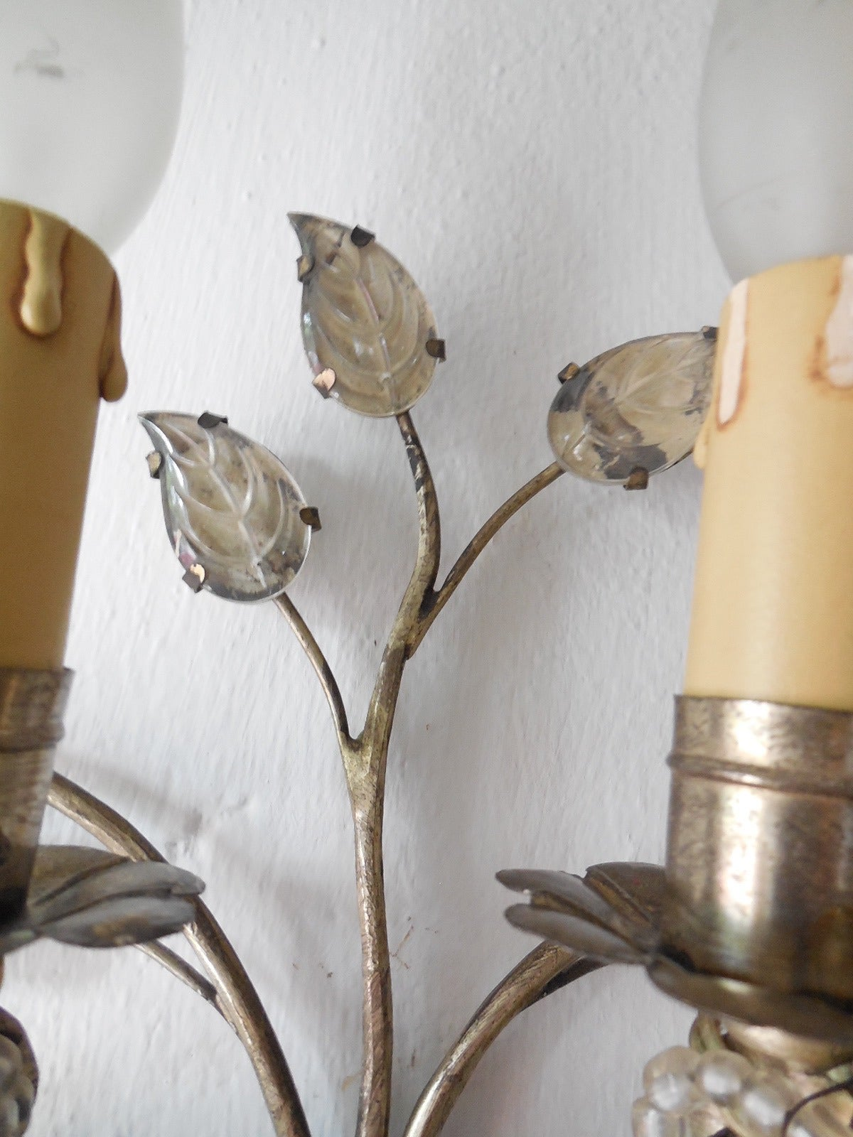 French Maison Bagues Style Silver Floral Beaded Sconces 8