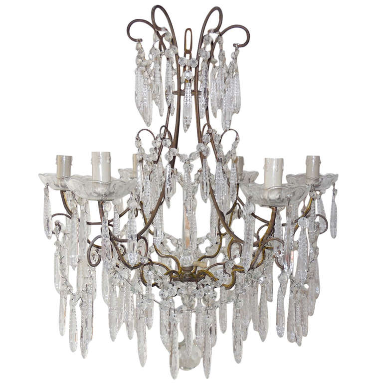 French Rare Cut Crystal With Center Spear Chandelier For