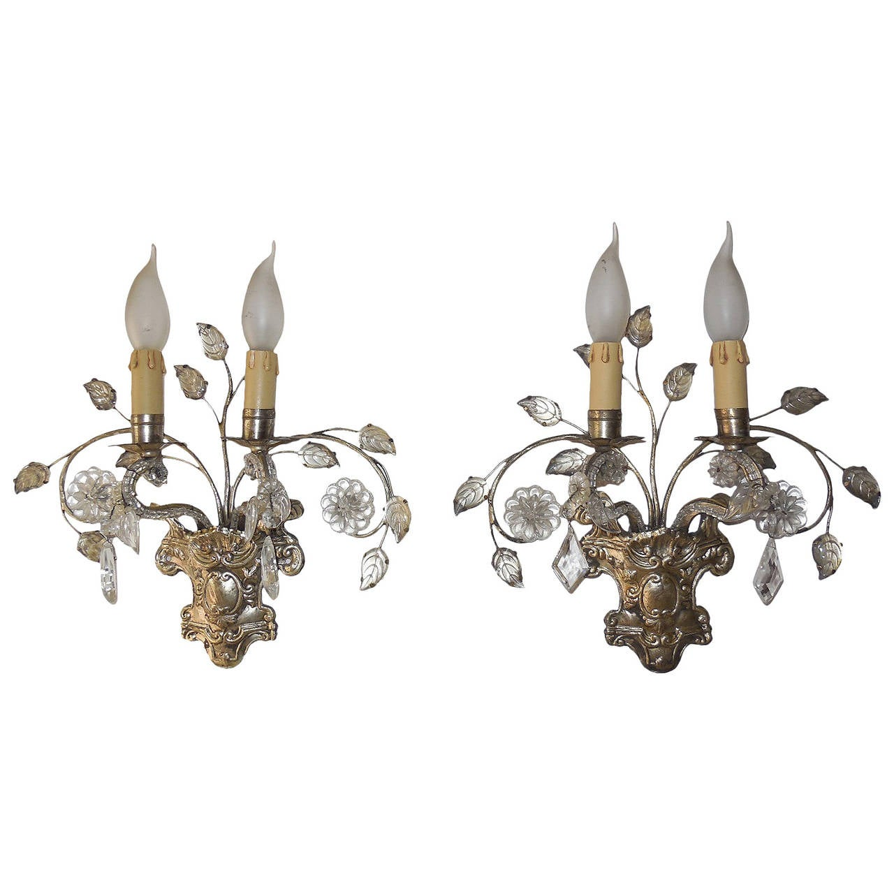 French Maison Bagues Style Silver Floral Beaded Sconces