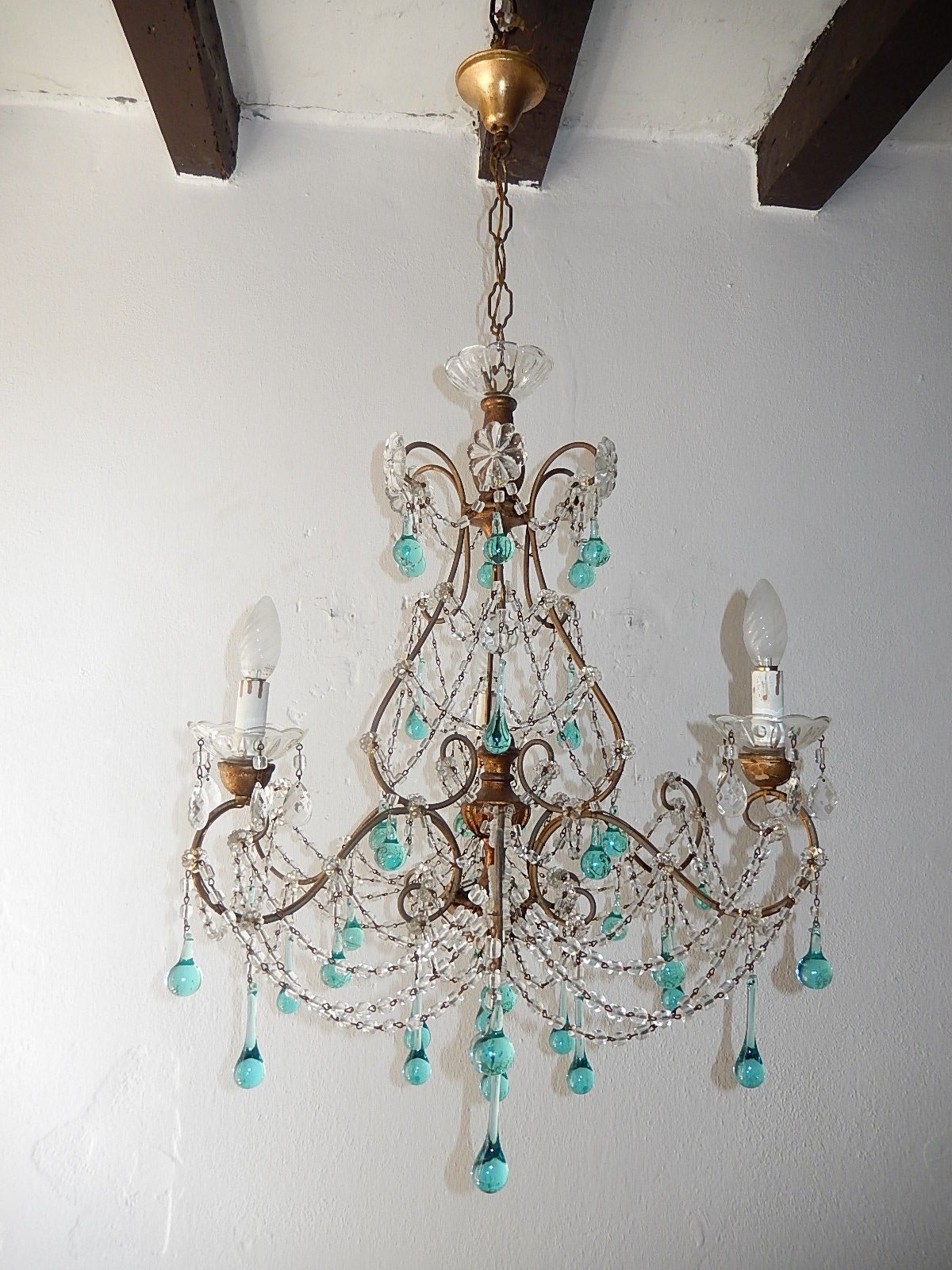 French Aqua Blue Balls and Drops Crystal Chandelier circa 1920 at