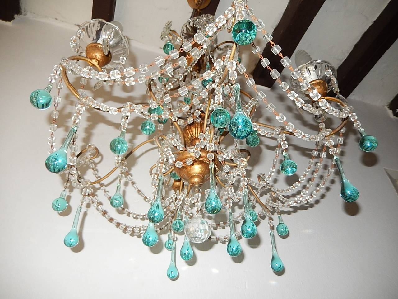 French Aqua Blue Balls And Drops Crystal Chandelier Circa At - Chandelier crystals blue