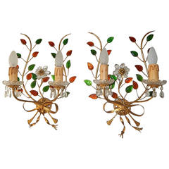 French Maison Bagues Style Colored Floral Beaded Sconces