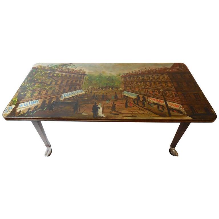 Painted Retro Coffee Table: Vintage Parisian, Hand-Painted Scene Coffee Table At 1stdibs