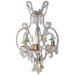 French Crystal Beaded, Murano Flowers Colored Chandelier