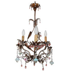 French Pink Drops and Flowers Beaded Tole Chandelier